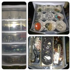 Easy & cheap DIY beauty storage. 5 drawer Sterilite bins with cut up egg cartons to organize earrings or rings and cut up cereal boxes as drawer dividers.