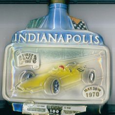 1970 INDY 500 JIM BEAM Art Deco 54th 100 Month Antique Whiskey Decanter Bottle