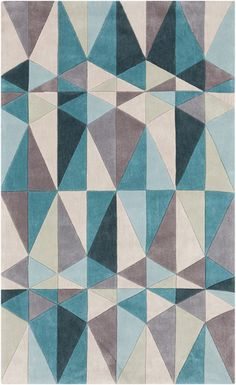 Funky geometric print in turquoise, teal blue, and beige. A rug from the Cosmopolitan Collection by Surya (COS-9169). Available in 3 colors