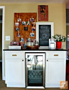 Carmel (@Carmel (@ Our Fifth House) Phillips) added personality to her DIY beverage station with a chalkboard message board.