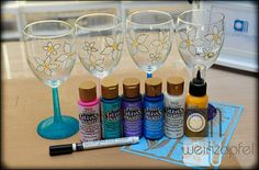 DIY wine glasses using Deco Art products___beautiful! Check out Tracy's page!