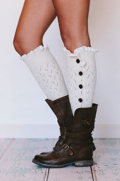 Lacy Knitted Button Down Leg Warmers