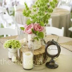 birch, pink roses, tree trunks, centre pieces, candles
