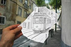 Drawing of Train by Ben Heine