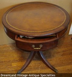 guilt leather top round table