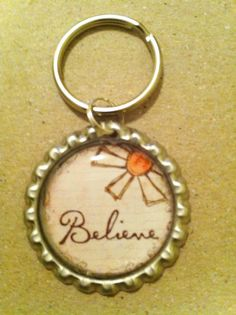 Christian Keychain Believe Bottlecap Key Chain by ValuableCr8tions, $4.00