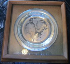 "Vintage Solid Sterling Silver Norman Rockwell Plate 1971 ""Under the Mistletoe"" Set 183.7 gram Beautiful in Shadow Box Frame"