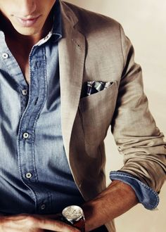 men in style mens fashion  style guide mens design mens styling  chambray shirt pocket square work wardrobe