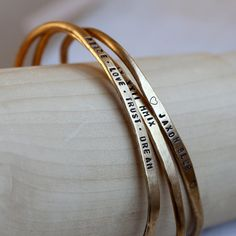 Personalized sterling silver and brass bracelets set of 3 rustic cuffs from Praxis Jewelry