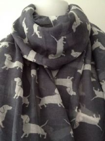Dachshund Dog Scarf, Grey Scarf with White Sausage Dog Print, Ladies Wrap Shawl, Charcoal Grey Sarong