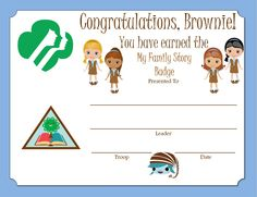Brownie My Family Story Certificate certif, scout idea, scout browni, browni girl, gsbrowni, browni badg, girlscout, gs browni, girl scoutsbrowni