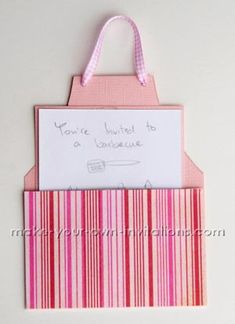 Printable apron card template  Materials  to make this invitaiton you will need  Patterned card stock or paper  Firm colored card  White card or copy paper  Ribbon  Adhesive - glue or double sided tape  Scissors or craft knife  A ruler and pencil