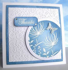 handmade card: The Blues by Heather Maria D ... luv the glow/ombre look of the blue sponging over white embossed flowers ... beautiful!!!