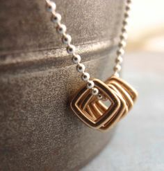 Bronze Squares Pendant II with a Sterling Silver Chain Necklace by unkamengifts on Etsy, $20.00