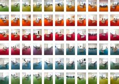 """Rainbow Office by Hofman Dujardin: The DLA Piper office is """"color balanced"""" according to the amount of sunlight received and the main meeting rooms are connected with a giant gradient of color carpet. color schemes, offices, rainbows, office colors, dutch, carpets, place, rainbow offic, workspac"""
