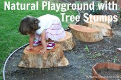 Did you know researchers found that children prefer play spaces with natural vegetation to jungle gyms and slides? Build a Natural Playground with Tree Stumps, from Tinkerlab.com