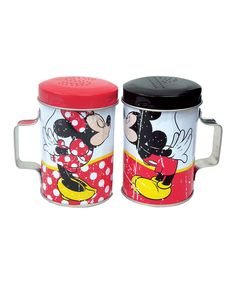 Add a dash of salt or pinch of pepper with this Disney duo shaker set. Constructed from durable, food-safe materials and modeled after a pair of familiar cartoon characters, it's the perfect supper seasoner for a magical meal. Includes two shakersTin