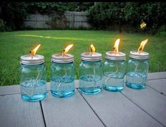 Homemade mosquitoe repellant lamps.