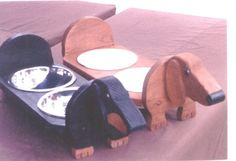 Dachshund elevated dog feeder, hand crafted