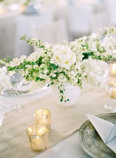 burlap table runner   SIMPLE elegant green & white wedding centerpiece