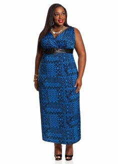 V-Neck Belted Maxi Dress Royal Blue 26