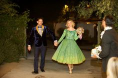 Green tea length reception dress