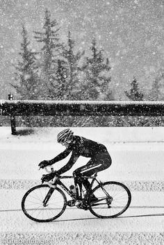 Cycling in the snow.