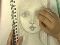 Drawing a face with Cristina Zinnia Galliher  This is a great Art Journal Pencil Drawing of Face, there are no instructions it is a time laps with music in the background. circl, art journals, cristina zinnia, zinnia gallih