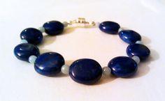 Lapis Blue Howlite and Angelite Bracelet. $30.00, via Etsy.