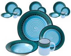 Carousel Blue Dinnerware by HF Coors. Manufactured and handpainted in Tucson, Arizona. #madeinUSA #leadfree