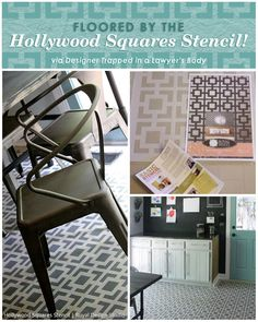 Hollywood Squares Stencil from Royal Design Studio used on painted kitchen floor by Designer Trapped in a Lawyers Body kitchen makeover