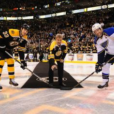 11/21/13 As part of the 90 years celebration, B's legendary defenseman Bobby Orr dropped the opening puck at home vs the St. Louis Blues.