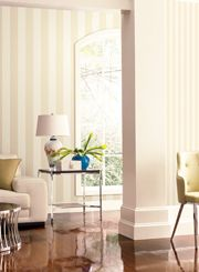 Using the same color stripes but different widths for a complimentary room to room design.
