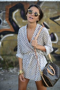 wrap dresses, summer styles, ray bans, polka dots, louis vuitton, sunglass, outfit, the dress, lv bags