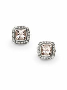 David Yurman - Diamond, Morganite & Sterling Silver Earrings - Saks.com