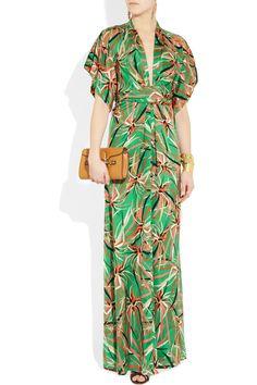 ISSA  Printed silk-satin kimono maxi dress