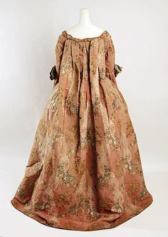 Robe à la Française Date: ca. 1760 Culture: French Medium: silk, metal thread Dimensions: Length: 60 in. (152.4 cm) Credit Line: Rogers Fund, 1932