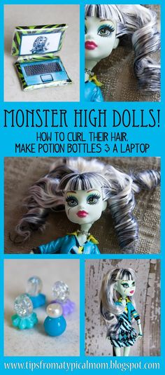 Monster High Dolls Tutorials- How to Curl their Hair, Make a Laptop & Make Potion Bottles!  So cute!