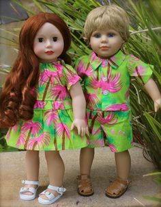 Harmony Club Dolls Kendall and Cameron dressed for a tropical vacation. Purchase these dolls & outfits that fit American Girl at www.harmonyclubdolls.com