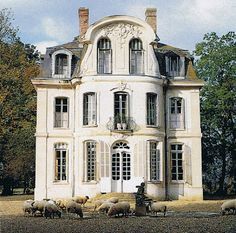 In the midst of the forests of Normandy, France, the chateau de Morsan. The chateau was built ca.1765 as a summerhouse, and at one point, it served as a hunting lodge. The exterior facade of the house reflected a French Rococo architectural style.