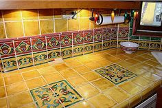 Mexican Tile Vanity Countertop Closeup, Mexican Home Decor Gallery. Mission Accesories, Copper Sinks, Mirrors, Tables And More