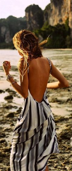 Black And White Stripes Maxi Dress backless for beach bathing suit under.