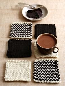 coasters from scrap yarn chocolates, hot chocolate, knit coaster, chocolate bars, crochet, yarns, craft patterns, granny squares, diy