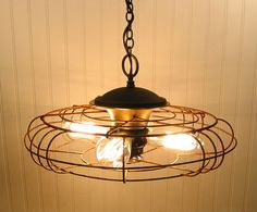 vintage fan turned into hanging light, cool