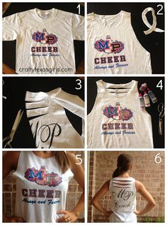 How to Cut up a T-shirt (From Drab to Fab with Scissors and Fabric Paint) on Crafty Texas Girls I'm a cheerleader and cut shirts all the time for practice but they aren't exactly cute. But this is adorable!