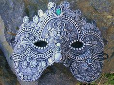 Romanesque Fantasy Mask Polymer Clay by myPhoenixCreations on Etsy, $99.00