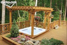 Hot tub! deck with hottub, decks with hot tubs, deck design, outdoor, backyards with hot tubs, deck idea, patio, backyard decks, hottubs