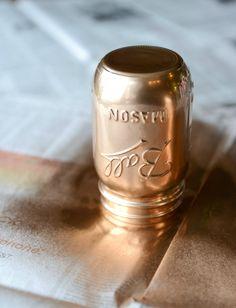 DIY rose gold metallic mason jars I howsweeteats.com