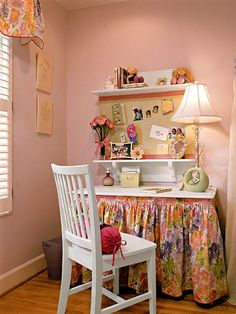 like the shelves and bulletin board in between for A's desk
