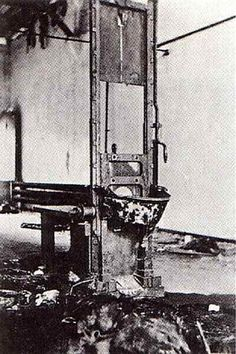 """In Germany, the guillotine was called the Fallbeil or """"Falling axe"""". When Hitler came into power, he commissioned the construction and testing of a guillotine. Satisfied with its operation, he then commissioned 20 more and used them throughout Germany and occupied lands. The guillotine was first used for criminals solely. However, during the World War,"""